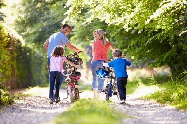 дружная семья гуляет в парке