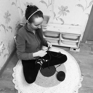 Вязание коврика из трикотажной пряжи