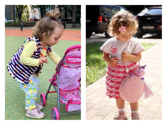 Вязаное платье и жилетка для девочки